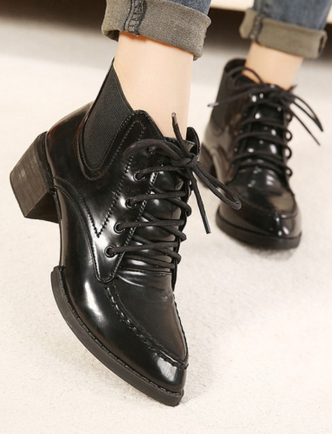 Свадьба - Elegant Style Chunky Heels PU Splicing Waterproof Boots Black BT0191