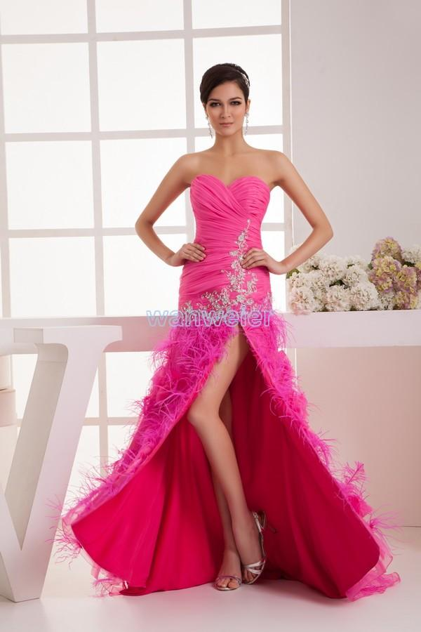 Mariage - Find Your Sweetheart Sheath Floor Length Red Satin & Organza Prom Dress With Appliquess And Feathers(Zj6839) Here ,Wanweier Prom Dresses - A perfect moment for you.