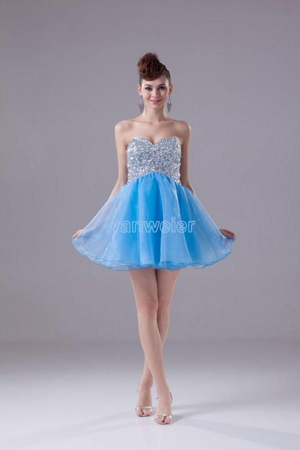 Mariage - Find Your Sweetheart Sheath Mini Blue Organza Prom Dress With Beading Sequins(Zj6883) Here ,Wanweier Prom Dresses - A perfect moment for you.