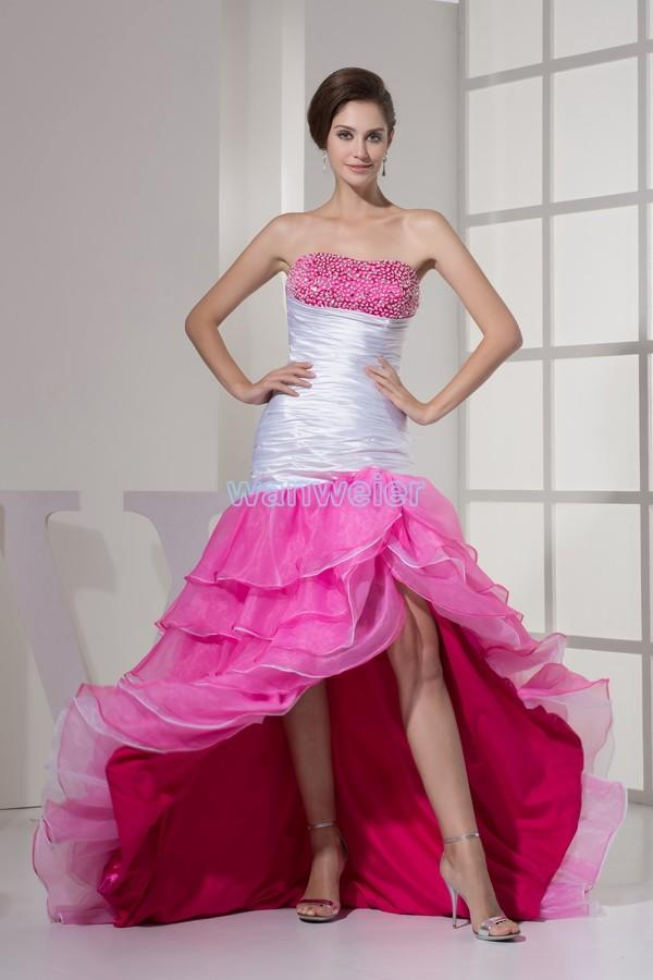 Find Your Strapless Sheath Hi-lo Organza Red & White Prom Dress With ...