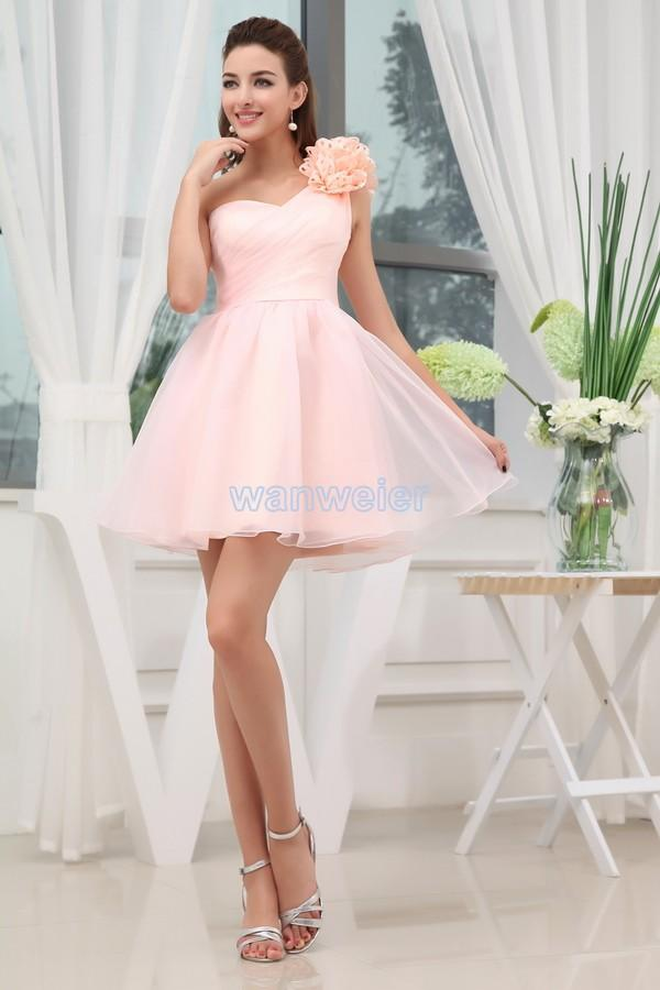 Wedding - Find Your Fascinating Sheath Short Mini One Shoulder Chiffon Pink Cocktail Dress With Shirring(Zj5463) Here ,Wanweier Cocktail Dresses - A perfect moment for you.