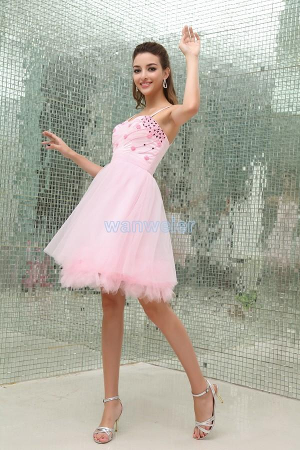Свадьба - Fashionable sheath Sling short mini Organza pink Cocktail Dress with beading(ZJ5475)