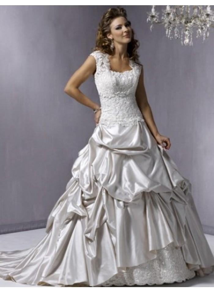 Empire A Line Lace Spaghetti Straps Ruching Brush Train Wedding