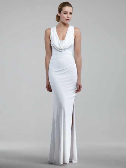 Wedding - Sheath/Column Sleeveless Elastic Woven Satin Floor-length Evening Dress