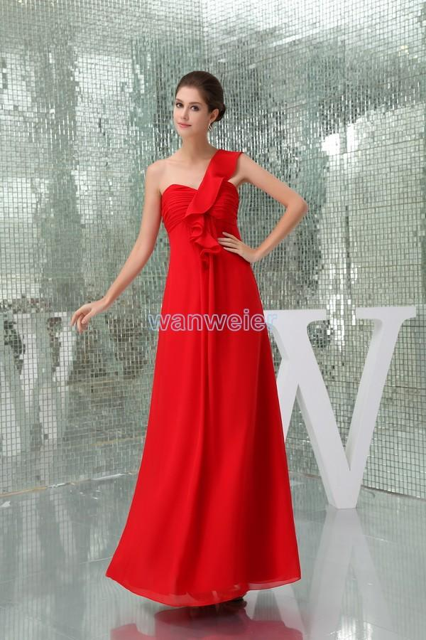 Find Your One-shoulder Plus Size Red Floor Length Chiffon Evening ...