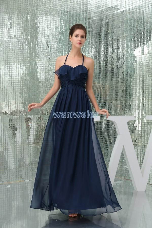 Wedding - Find Your Halter Blue Plus Size Chiffon Floor Length Evening Dress With Drape And Shirring(Zj6933) Here ,Wanweier Evening Dresses - A perfect moment for you.