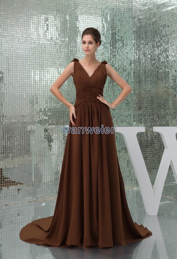 Mariage - Find Your Train Brown Floral Plus Size V-neck Chiffon Evening Dress With Shirring(Zj6971) Here ,Wanweier Evening Dresses - A perfect moment for you.