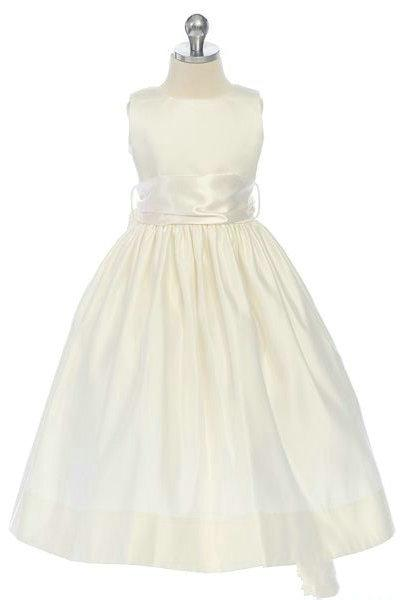 Свадьба - Satin A Line Bateau Sash Inexpensive Designer Flower Junior Bridesmaid Dresses, Flower Girl Dresses - 58weddingdress.com