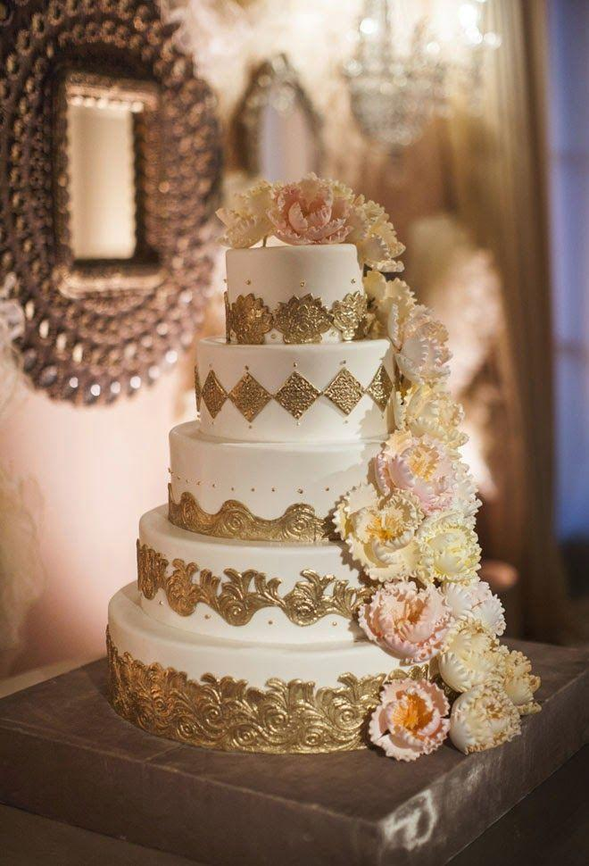 Lace Cake Wedding Fancy Red Buttercream