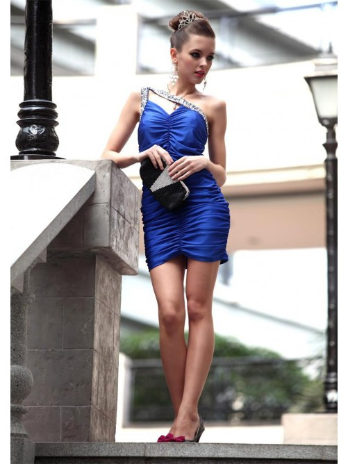 Wedding - Sheath/Column Sleeveless One-shoulder Short Mini Style Elastic Woven Satin Dress