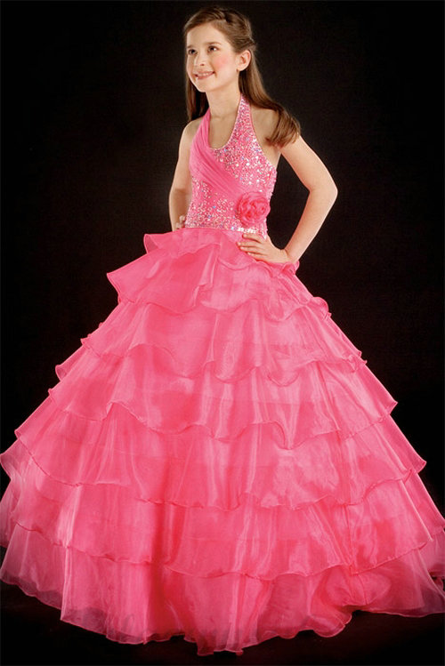 Свадьба - A line Halter Rosette Beading Organza Girl Red Pageant Dress