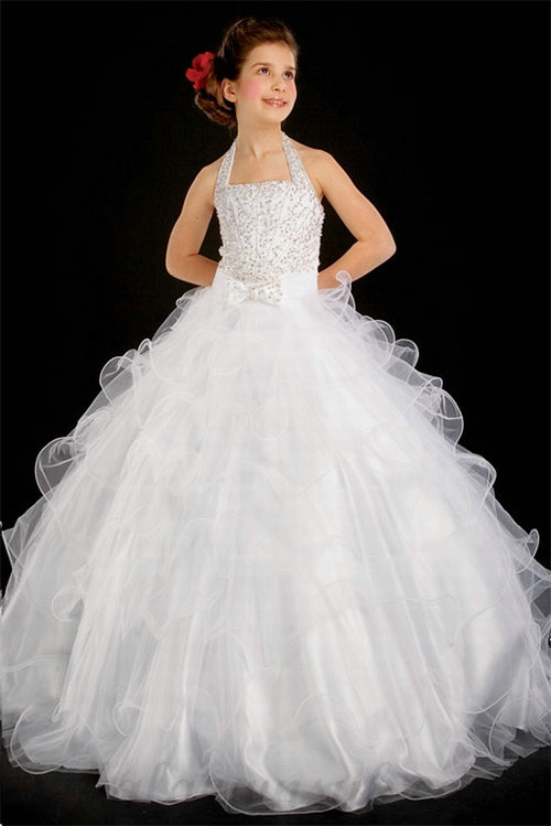 Mariage - A line Halter Organza White Beading Floor Length Girl Pageant Dress