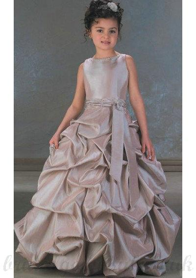 Wedding - A Line Roud Neck Floor Length Grey Taffeta Flower girls Dress