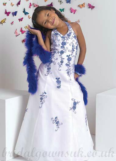 Wedding - A line Halter White Blue Affordable Embroidery Satin Pageant Dress
