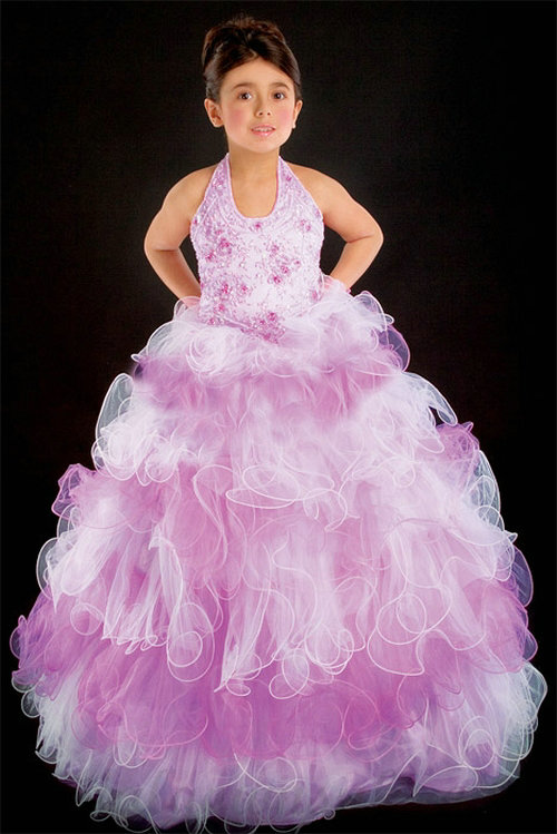 Свадьба - Halter Organza Beading Floor Length Color Block Pageant Dress