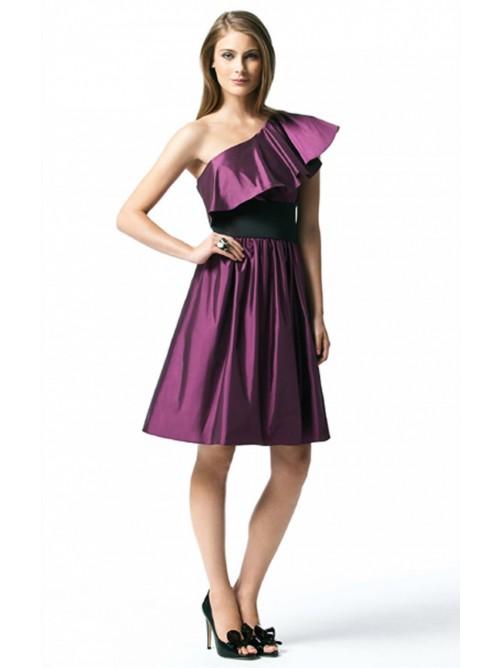 Wedding - Purple A-line Knee-length One Shoulder Dress