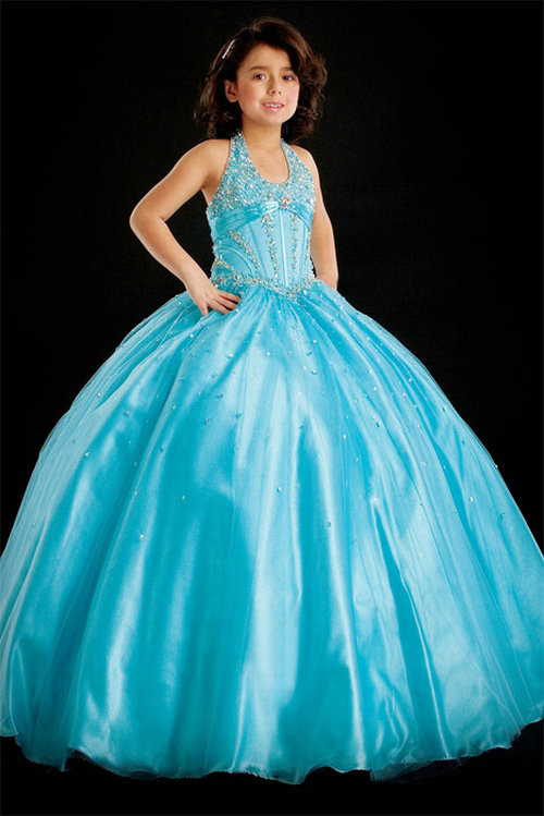 Wedding - Ball Gown Halter Beading Tulle Baby Blue Satin Girl Pageant Dress