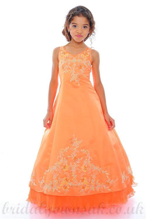 زفاف - A line V Neck Embroidery Satin Orange Girl Cheap Pageant Dress