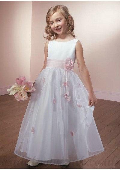 59dd66a1e84 Beaded Scoop Neckline with Ball Gown Skirt White Organza Flower Girl Dress