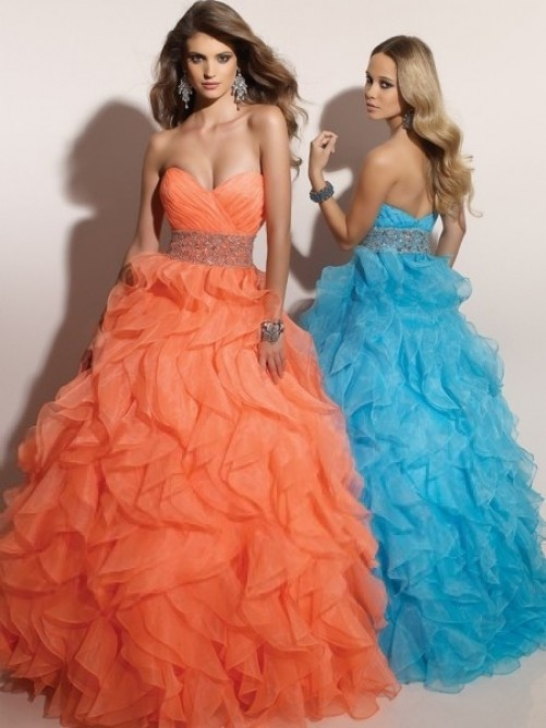 Wedding - Floor-length Ball Gown Sweetheart Beading Sleeveless Organza Dress