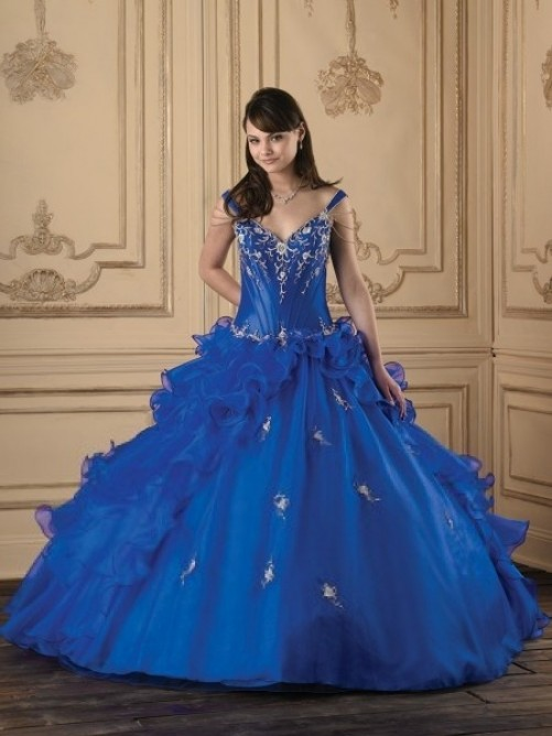Wedding - Ball Gown Spaghetti Straps Embroidery Sleeveless Floor-length Organza Dress