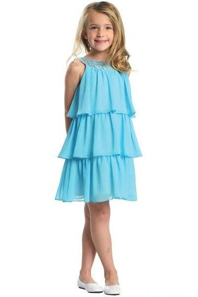 Wedding - Blue Chiffon Layer Ruffles Handmade Beading Junior Party Dresses New Style