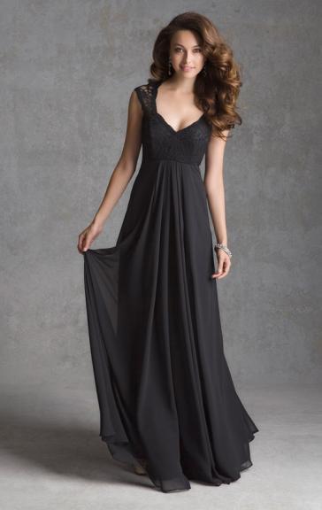 Mariage - Robe de soirée chaude longue noire de mousseline de soie BNNAJ0005