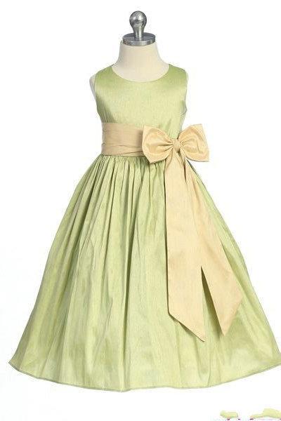 Wedding - A Line Bow Sash Satin Common Ruffles Perfect Customzied Girls Junior Bridesmaid Dress, Flower Girl Dresses - 58weddingdress.com