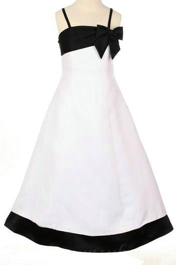 Wedding - Spaghetti Satin A Line Bow Elegant Inexpensive Girls Formal Dresses, Flower Girl Dresses - 58weddingdress.com