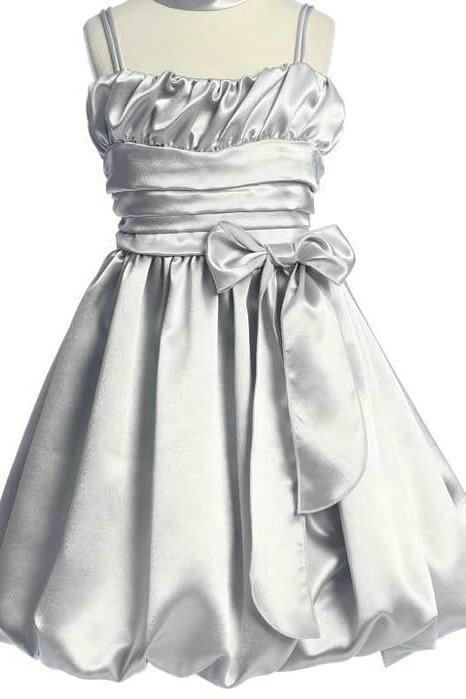 Wedding - Spaghetti Satin Sash Bow Matching Ruffels Designer Flower Girls Dress, Flower Girl Dresses - 58weddingdress.com