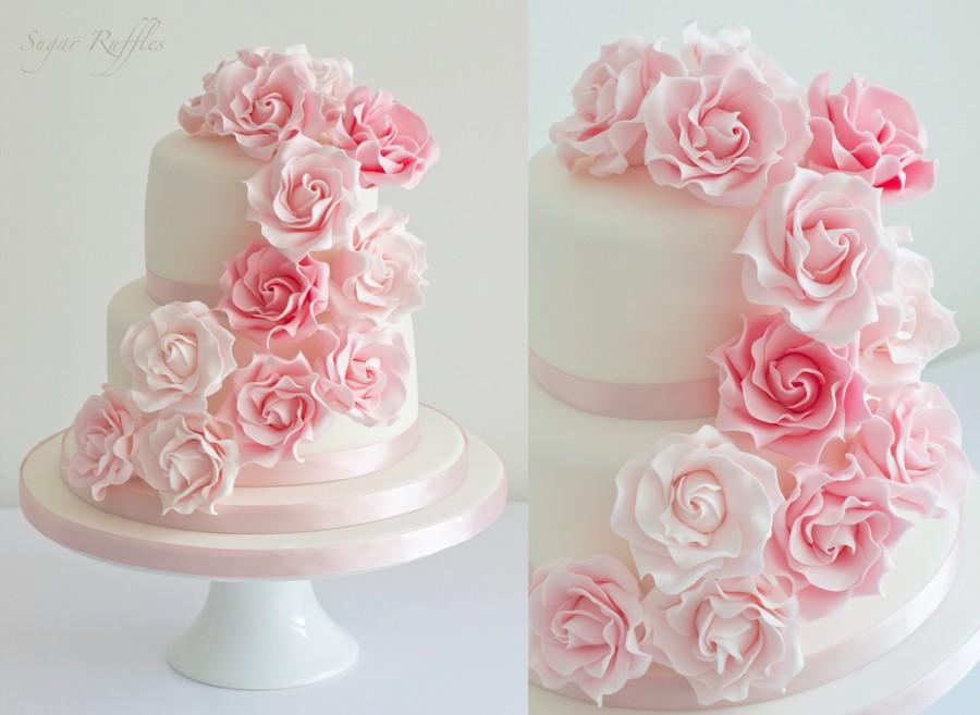 Rose Wedding - Pink Rose Cascade Wedding Cake #2121479 ...