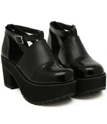 Mariage - Elegant Style Fish Mouth Waterproof Hollow Out Hight Heel Sandal Black Black SD0217