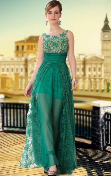 Robe de soirée pas cher longue vert de tencel LFYAK0372