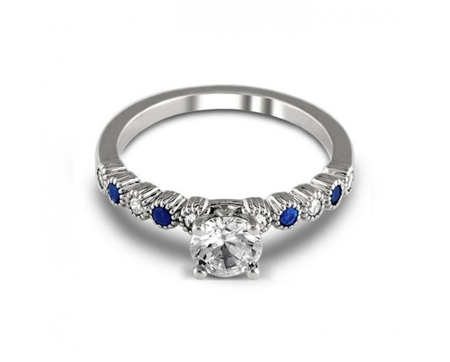 Mariage - 14K White Gold Anastasia Engagement Sapphire and Diamond Ring