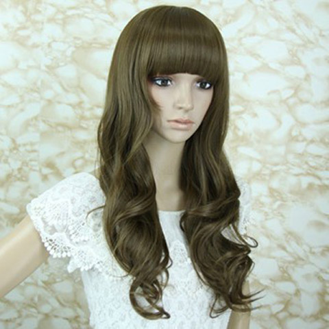 Nozze - 24 Inch Long Neat Bang Lace Wig Wavy Light Flax Yellow