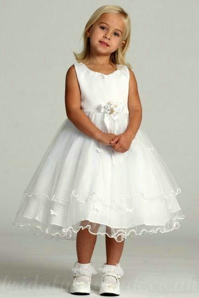 زفاف - Satin And Lace A Line Flower Trimed Common Knee Length Inexpensive Flower Pageant Dresses, Flower Girl Dresses - 58weddingdress.com