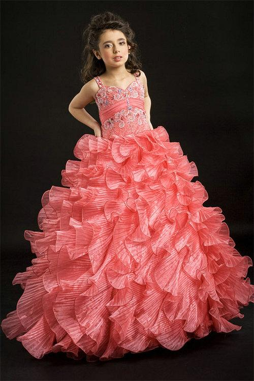 زفاف - Sweetheart Ruched Empire Waistband Red Beading Organza Ruffle Girl Pageant Dress, Flower Girl Dresses - 58weddingdress.com