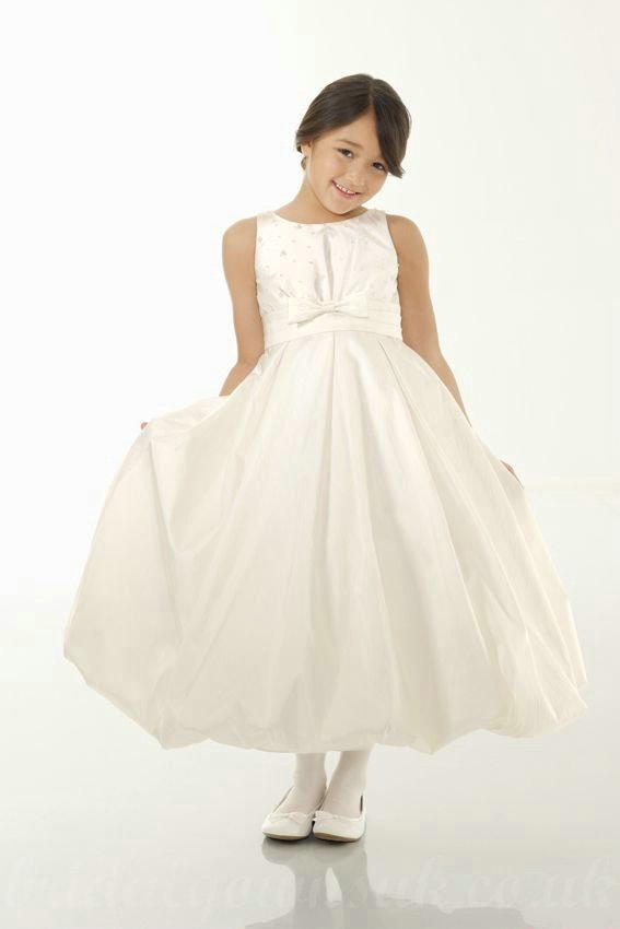 Satin Bateau A Line Bow Elegant Cute Inexpensive Girls Formal Dress