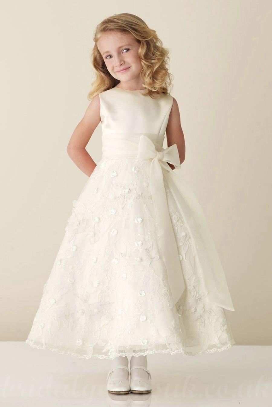 Satin Bateau A Line Bow Sash Inexpensive Perfect Flower Junior Bridesmaid Dress Dresses 58weddingdress