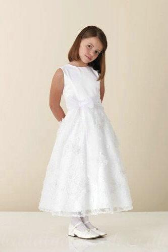 Hochzeit - Satin And Lace BATEAU A Line Bow Sash White Formal Girls Party Dress, Flower Girl Dresses - 58weddingdress.com