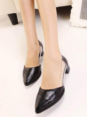 Wedding - Fashion Style Cusp Head Middle Heel Shoes Black Black PM0241