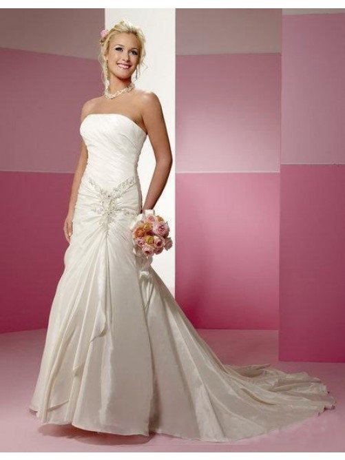 Wedding - Robe de Mariée Sans Bretelles A-ligne en Perle en Taffetas