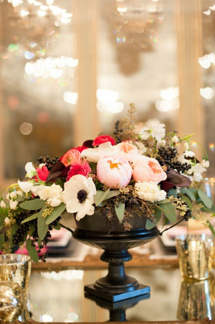Centerpieces modern pink and black wedding ideas