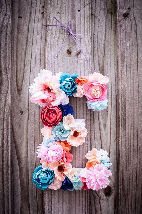 Wedding - Custom 13 1/2 Inch Floral Letter // Nursery Decor, Birthday Party Decor, Photo Prop