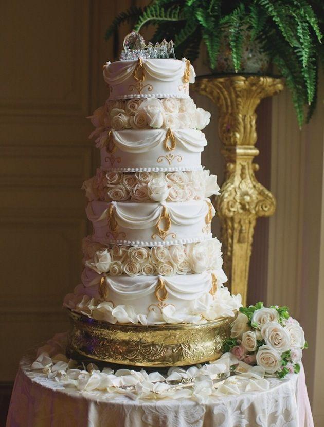 Blanc et or mariage Gâteaux