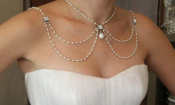 Hochzeit - Halskette für die Schultern, 1920 Perlen Strass, Silber, Brauthochzeits-Schmuck, Gatsby, Victorian, Efrat Davidsohn, Trägerloses