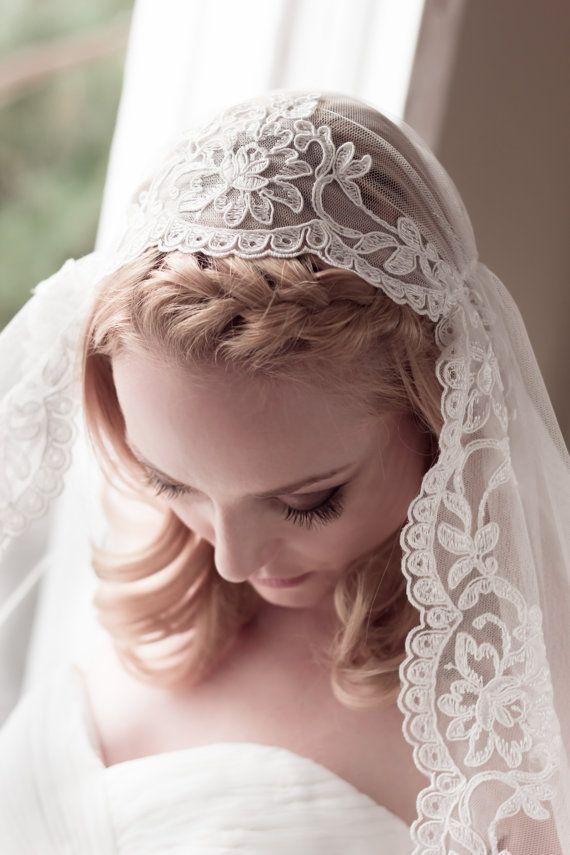 Wedding Veil Alencon Lace Juliet Cap English Net And Full Floral Lace Bridal Cap Fingertip