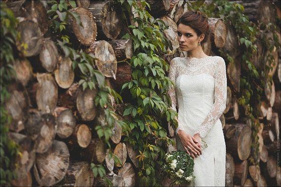Ausgestattet Art-Spitze Lange Hochzeits-Kleid Mit Ärmeln Lase M38 ...