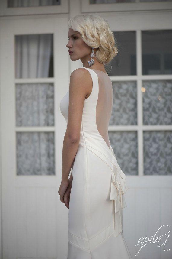 Lange Hochzeits-Kleid Mit Zug, Elfenbein Lange Hochzeits-Kleid Mit ...