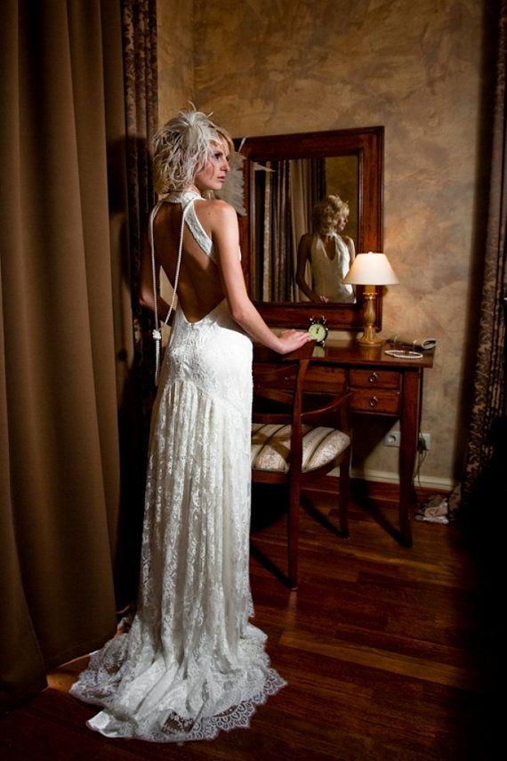 Spitze Lange Hochzeits Kleid Mit Offenem Rucken Im Retro Stil Lange
